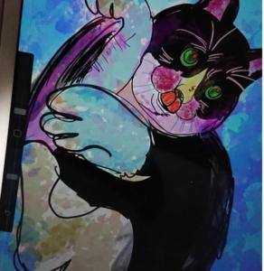 デジタルアート日記2 ipad×デジタルアート 躍動感のある可愛らしい猫の絵をapple pencil 1で描いてみた!