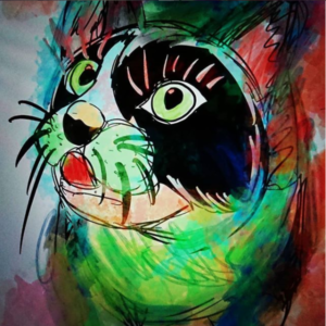 デジタルアート日記3 ipad×apple pencilの芸術 緑の野生の猫の絵をで描いてみた!