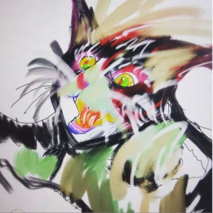 デジタルアート日記4 ipad×apple pencilの現代芸術 躍動感のある可愛い猫を描いてみた