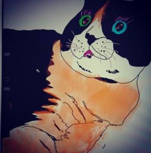 新しい10.2インチのiPadと Apple Pencil(第 1世代)でデジタルアートを描いてみた!猫のつぶらな瞳は何色?